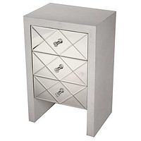 """17'.7"""" X 13"""" X 28"""" Antique White MDF, Wood, Mirrored Glass Accent Cabinet with  Mirrored Glass Drawers"""