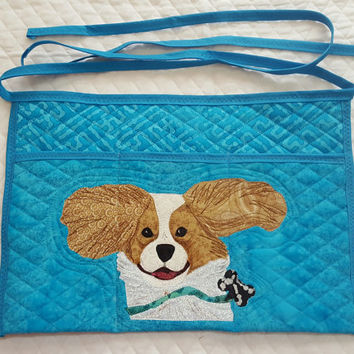 Running Cavalier King Charles Spaniels Dog Apron for Dog Agility, Dog Obedience, Gardening Apron - Appliqued Quilted in blue