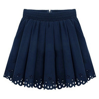 ROMWE | Elastic Pleated Blue Skirt, The Latest Street Fashion