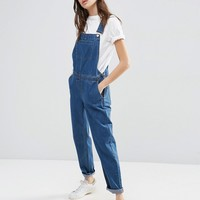 ASOS Denim Dungaree in Stonewash Blue