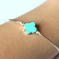 Silver Aqua Mint Clover Quatrefoil Bangle Bracelet Silver Charm - Stackable Bangle Bracelet - Bridesmaid Gift - Gift under 15