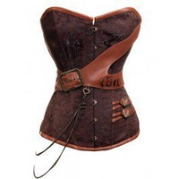 CD-237 Steampunk Brocade Corset with Chain and Belt Detailing STOCK AVAILABLE/MADE TO ORDER