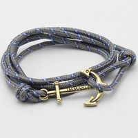 Pirate Leather Cord Bracelet Navy Anchor Braided Bracelets For Men and Women