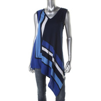 Cable & Gauge Womens Knit Asymmetric Tank Top Sweater