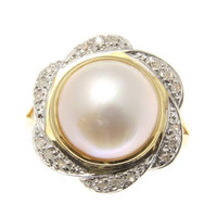 GENUINE 11.50MM MABE PEARL DIAMOND RING SOLID 14K YELLOW GOLD
