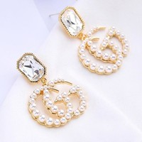 GUCCI S925 Silver Needle Fashion Women Sweet Diamond Pearl GG Letter Pendant Earring Accessories Jewelry
