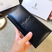 YSL High Quality Hot Sale Men Women Leather Wallet Purse