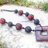 Chunky Hemp Necklace w/ Stone Pendant  Autumn by KnottyandNiceHemp