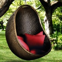 Urban Balance Cove Outdoor Hanging Chair with 5 Pillows, Ocean (Discontinued by Manufacturer)