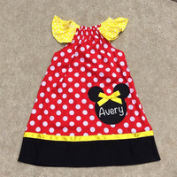 Minnie Mouse Dress, Personalized Dress, Girls Minnie Dress, Toddler Minnie Outfit, Pillowcase Dress, Polka Dot Dress, Disney Dress, Mickey