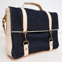 The Raw Selvage Denim and Leather Messenger Bag