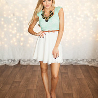 Cute Little Laced Top Belted Dress Mint