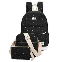 Student Backpack Children Fresh Canvas Women Backpack Big Girl Student Book Bag With Purse Laptop 3pcs Set Bag High Quality Ladies School Bag FBE3 AT_49_3