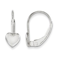 14k White Gold Madi K. Leverback Heart Earrings - Children's Jewelry