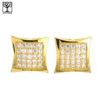 Jewelry Kay style Men's Iced Out 14K Gold Plated Micro Pave Block Dome Screw Back Earrings SHS604G