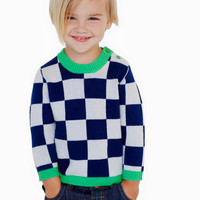 Atelier/Child - Boys Merino Cashmere Blend Checkers Sweater, Navy/Green