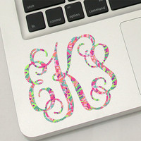Monogrammed Lilly Pulitzer Laptop Monogram Decal Sticker - up to 3""