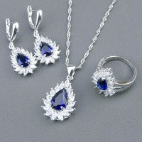 Blue and Sapphire White Topaz Set Necklace Pendant Earrings Ring