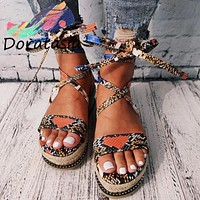 Summer hot style fish mouth open toe sponge cake with thick sole ring foot strap leopard print plus size sandals women