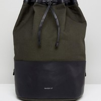 Sandqvist Gita Duffle Backpack in Cotton Canvas and Leather Mix at asos.com