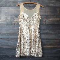 midnight rendezvous gold sequin darling party dress