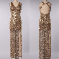 Perfect Party Ball Gown Sequin Maxi Dress in Gold