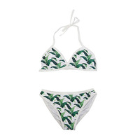 Leaf Print Halter-Neck Bikini Set