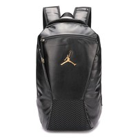 Jordan popular men's and women's backpacks fashion gold LOGO pure color shopping backpack