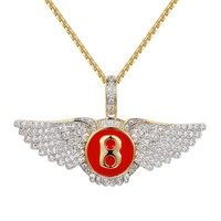 Luxury Car Red Logo B Wings Iced Out Pendant