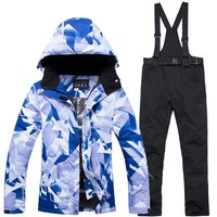 New Cheap Women ski gear snowboarding suit sets waterproof windproof winter Snow Costumes jacket and bibs pant best Ski suit Hot
