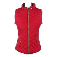 Quilted Padded Vest, Red  (Size M)