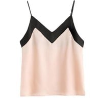Brief Silky Top Women Pink Contrast Elegant V Neck Sexy Tops Fashion New Patchwork Casual