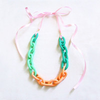Pastel Chain Statement Necklace, Ombre Chain Necklace in Mint, Peach, Teal, Handmade Oversized Chain Link Necklace