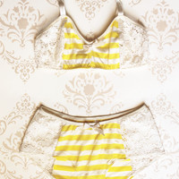 Lingerie Set 'Buttercup' Yellow stripes with White Lace Handmade to Order