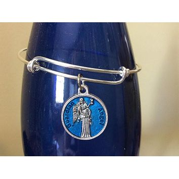 Guardian Angel Charm Silver Expandable Bracelet Adjustable Wire Bangle Inspirational Jewelry Trendy Handmade in America