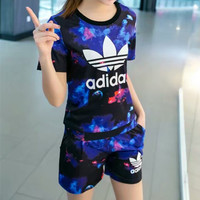 """Adidas"" Fashion Casual Galaxy Clover Letter Print Short Sleeve Set Two-Piece Sportswear"
