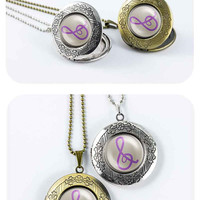 My little pony Octavia cutie mark music note treble clef MLP vintage pendant locket necklace - ready for gifting - buy 3 get 4th one free