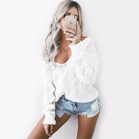 Elegant V-Neck White Knitted Sweaters Women Autumn Winter Warm Knitwear Pullovers Jumper Sweter Mujer Pull Femme 90104