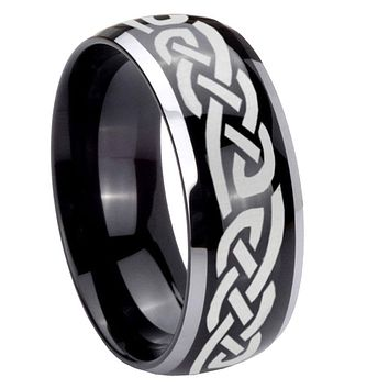 8mm Celtic Knot Infinity Love Dome Glossy Black 2 Tone Tungsten Mens Wedding Ring