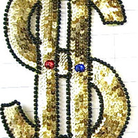 """Dollar Sign with Gold and Black Sequins and Beads and Gems 9.5"""" x 5"""""""