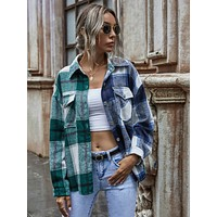 Tartan Plaid Drop Shoulder Overshirt