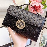 GUCCI New fashion more letter leather chain shoulder bag crossbody bag handbag Black