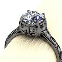 Antiqued 14K and Moissanite Solitaire RIng
