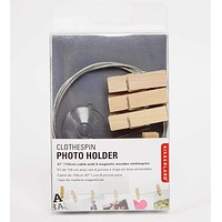 KIKKERLAND PHOTO HOLDER WIRE WITH 6 WOOD CLOTHESPINS