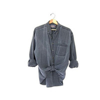 Vintage washed out and faded Black Gray Denim Shirt. Long Sleeve Jean Shirt. Oversized Button Up Boyfriend Shirt.
