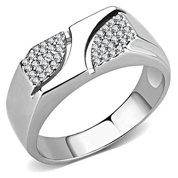 Mens Stainless Steel Rings DA280 Stainless Steel Ring with AAA Grade CZ