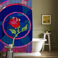 "Beauty And The Beast Rose Glass High Quality Custom Shower Curtains 60"" x 72"""