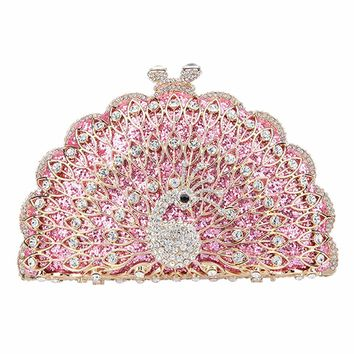 Peacock Evening Bag Glitter Cute Animal Clutch Bags For Women Purses And Clutches