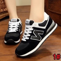 """""""New Balance"""" Autumn Winter Fashion Women Men Casual All-Match N Words Breathable Couple Sneakers Shoes Black"""