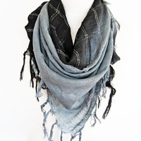 Two Colors Elegant Cotton Fringed Scarf, Winter Trends, Gift, Headband, Bandana, Black / Gray